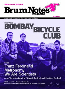 Brum Notes Magazine cover March 2014 - Bombay Bicycle Club