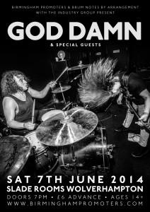 God Damn at the Slade Rooms, Wolverhampton - poster