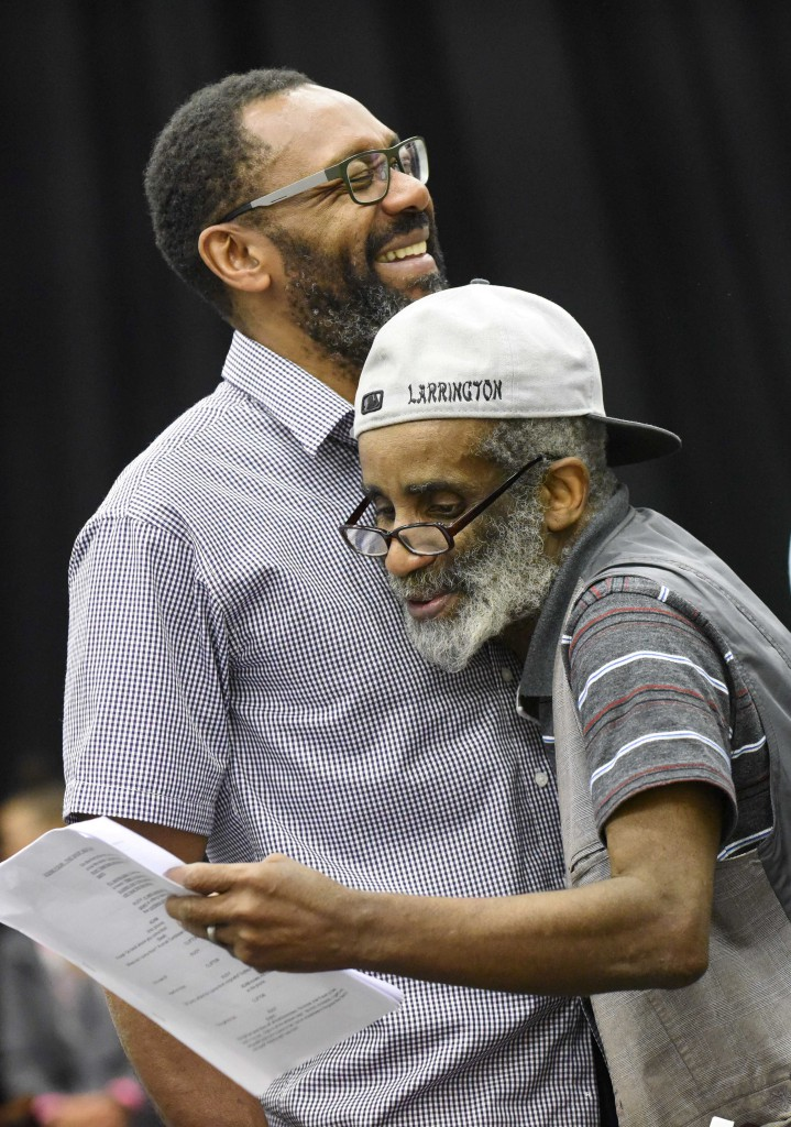 Lenny Henry as Adam and Larrington Walker as Rudy in rehearsals for Rudy's Rare Records. Photo by Robert Day