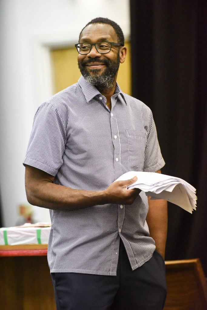 Lenny Henry as Adam in rehearsals for Rudy's Rare Records. Photo by Robert Day