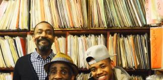 Lenny Henry, Larrington Walker, Joivan Wad in Rudy's Rare Records