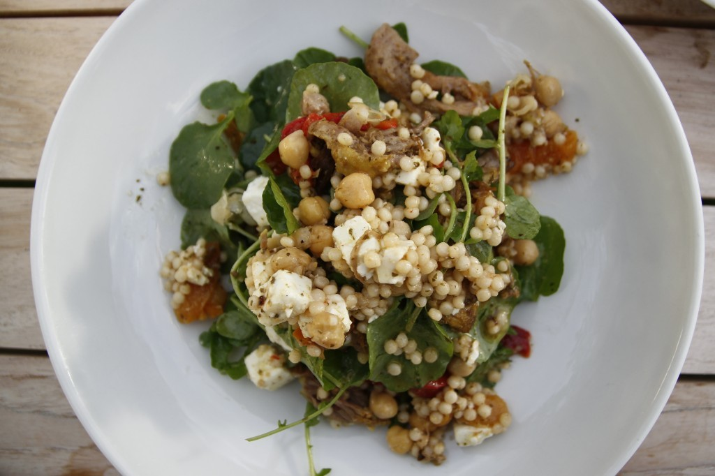 Couscous with spiced lamb, feta, chickpeas and apricots