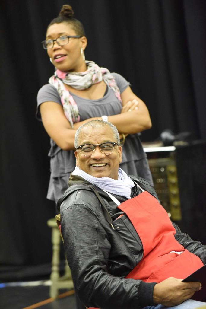 Natasha Godfrey as Tasha and Jeffrey Kissoon as Clifton in rehearsals for Rudy's Rare Records. Photo by Robert Day