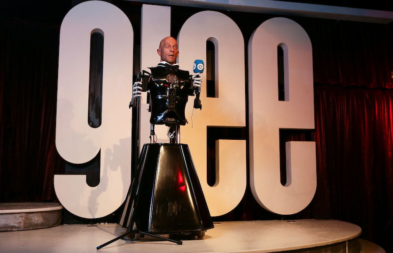 The world's first robotic comedian takes to the stage  in preparation for his debut gig at the Glee Club Birmingham