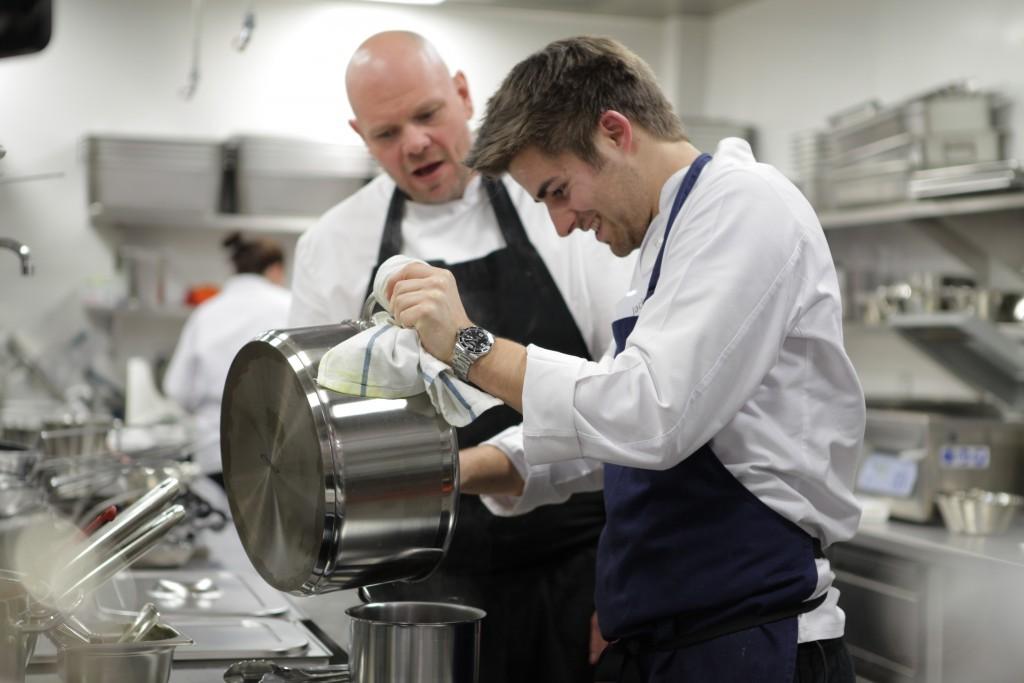 Jack Lucas with chef Tom Kerridge